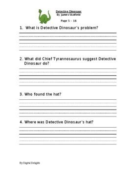 Detective Dinosaur Reading Comprehension Questions