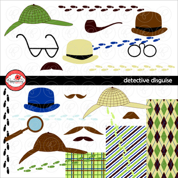Detective Disguise Clipart and Paper Set by Poppydreamz