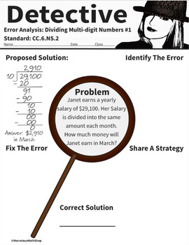 Detective Error Analysis Packet CC.6.NS.2