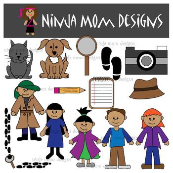 Detective Kids Clip Art in Color and Black Line