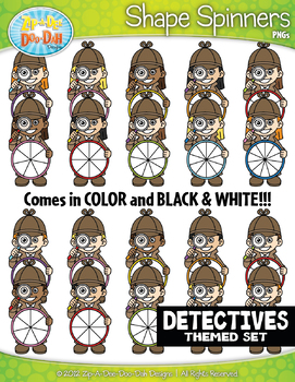 Detective Kids Spinner Shapes Clipart {Zip-A-Dee-Doo-Dah Designs}