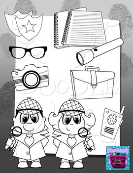 Detective Kids and Investigator Accessories Clipart Bundle 2