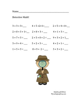 Free Downloads Detective Math! Addition Printable! 3 or 4