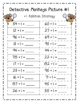 Detective Monkeys - 100's Chart Hidden Pictures