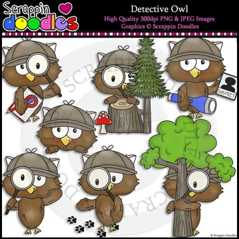 Detective Owls Clip Art & Line Art
