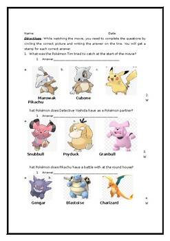 Detective Pikachu Movie Worksheet