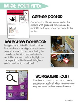 Detective Read & Write the Room Pack (Literacy Center Activities)
