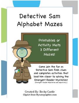 Detective Sam Alphabet Tracing Mazes (3 Different Mazes)