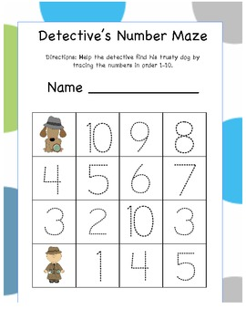 Detective Sam Leveled Tracing Number Mazes