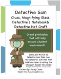 Detective Sam clues, detective's notebook, magnifying glass craft, & hat