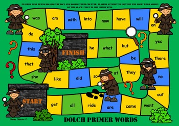 Detective Sight Word Game - Dolch Primer Words