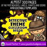 Detective Theme Classroom Decor EDITABLE (Detective Classr