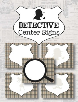Detective Theme Center Signs *Editable*