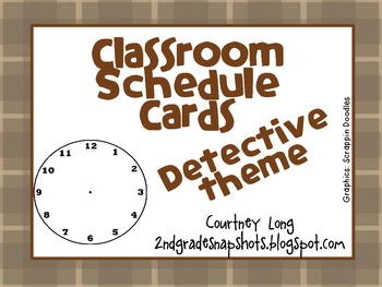 Detective Theme Classroom Schedule Cards