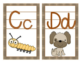 Detective Theme Large Letter Cards with Beginning Sounds and Handwriting Lines