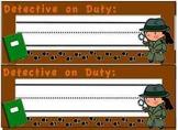 Detective Theme Name Tags