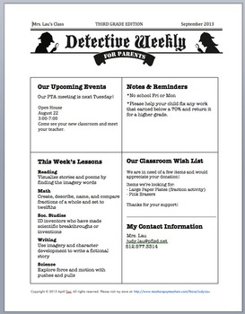 Detective Theme: Parents Guide, Calendar, Newsletter (K-6)