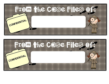 Detective Theme - Student Work Bulletin Board Labels