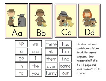 Detective Theme Word Wall Headers and Sight Words