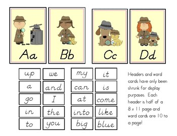 Detective Theme Word Wall Headers and Sight Words (D'Nealian)