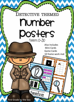 Detective Themed 0-30 Number Posters with mini cards and a