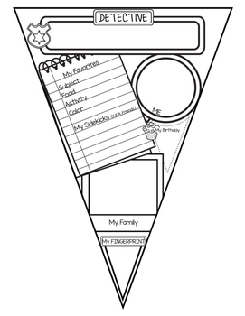 Detective Themed All About Me Pennant