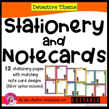 Detective Themed EDITABLE Stationery with Matching Note Cards