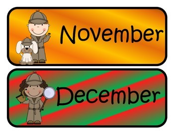 Detective Themed Monthly Calendar Headers