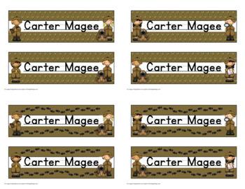 Detective Themed Nameplate/Deskplate/Nametags Editable
