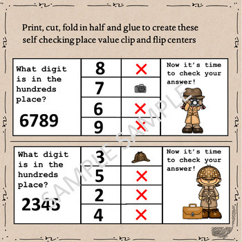 Detective Themed Place Value Clip & Flip Cards