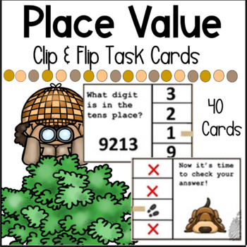 Detective Mystery Place Value Clip & Flip Multiplication Task Cards