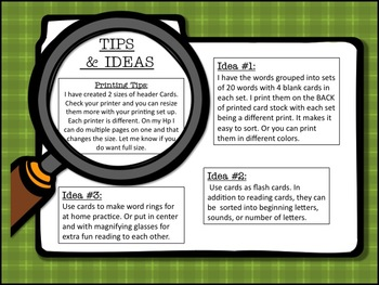 Detective Themed Word Wall (Green Plaid) with word cards