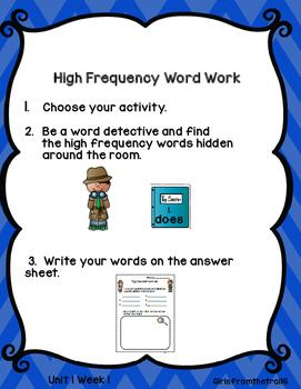 Detective Word Work Wonders Unit 1 Week 1