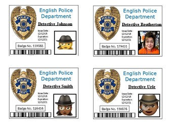 Detective theme badges, Police badge, Investigation, Inference lesson,