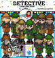 Detective clip art -Color and B&W- 58 items!