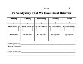 Detective or Mystery Themed Classroom Behavior Sheet