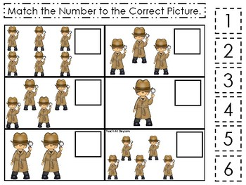 Detective themed Match the Number Game. Printable Preschool Game