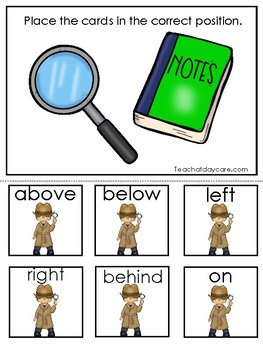 Detective themed Positional Word Game. Printable Preschool Game