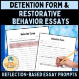 Detention Form & Behavior Essay Prompts