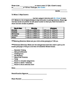 Detention Form (English & Spanish Version)