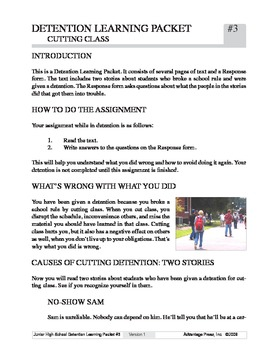 Detention Learning Packet: Cut Class