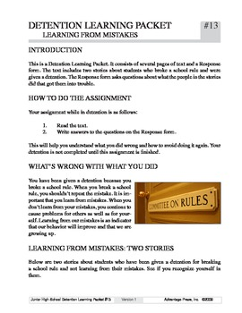 Detention Learning Packet: Mistakes