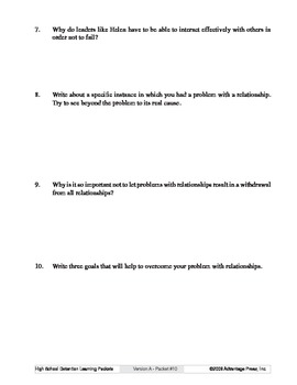 Detention Learning Packet: Problems with Relationships