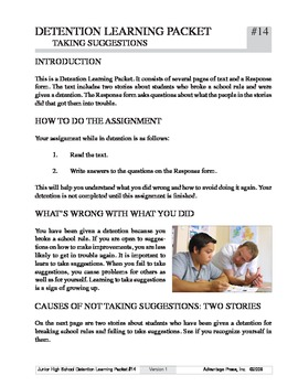 Detention Learning Packet: Taking Suggestions