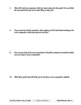 Detention Learning Packet: Uncooperative Attitude