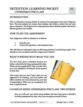 Detention Learning Packet: Unprepared for Class