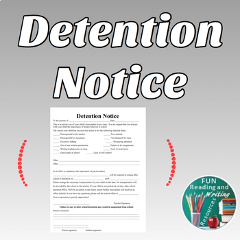 Detention Notice - Editable