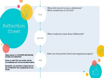 Behavior Reflection Sheet - Qs for students to complete in Detention- Discipline
