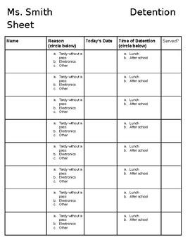 Detention Sheet