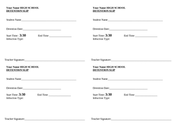 Detention slip 1 4 page size by detroitteacher tpt for Detention notice template